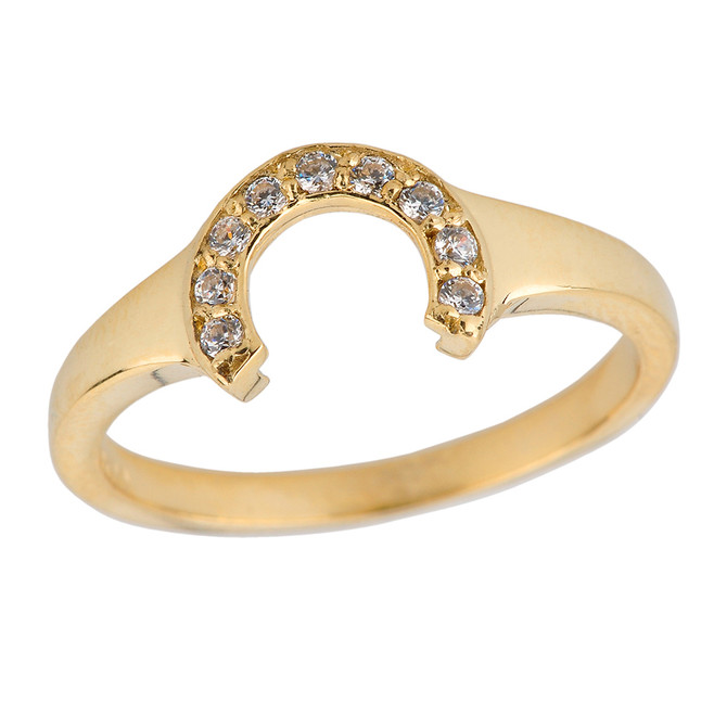 Ladies Yellow Gold Diamonds Studded Lucky Horseshoe Ring