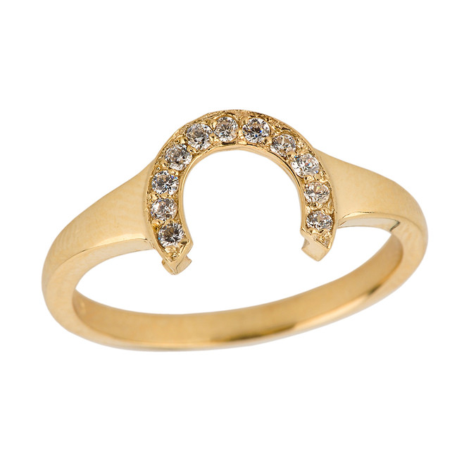 Yellow Gold Ladies Diamond Lucky Horseshoe Ring