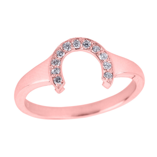 Rose Gold Ladies Diamond Lucky Horseshoe Ring