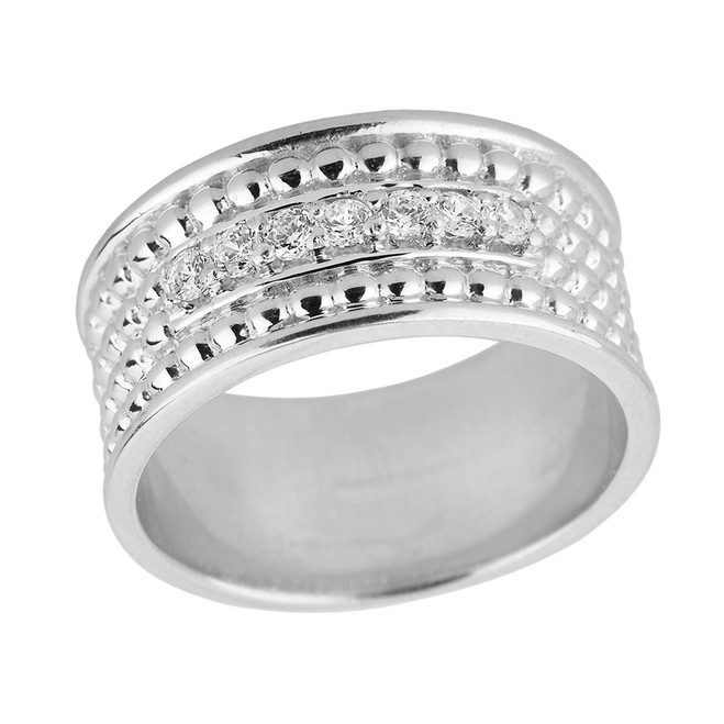Sterling Silver Ball Chain Bead Diamond Anniversary Wedding Band