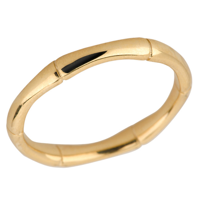 Solid Yellow Gold 3 MM Bamboo Band
