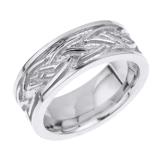 Solid White Gold Celtic Knot Unisex Wedding Band