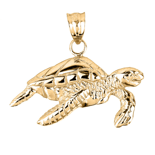 Solid Yellow Gold Sea Turtle Charm