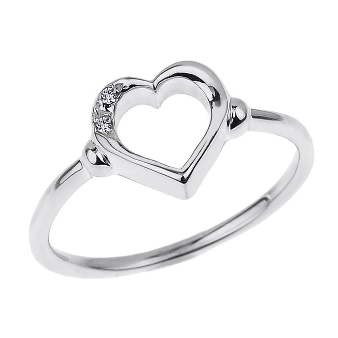 Dainty White Gold Open Heart Diamond Ring
