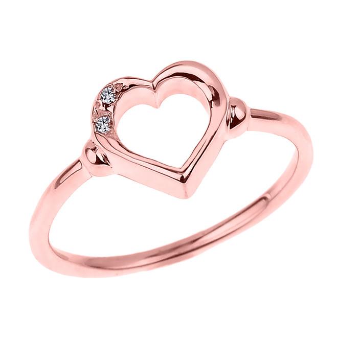 Dainty Rose Gold Open Heart Diamond Ring