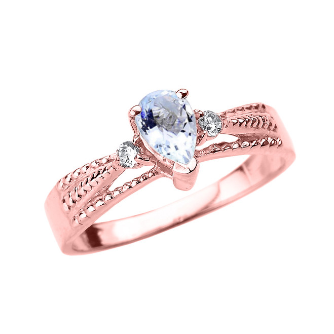 Rose Gold Aquamarine and Diamond Ladies Ring