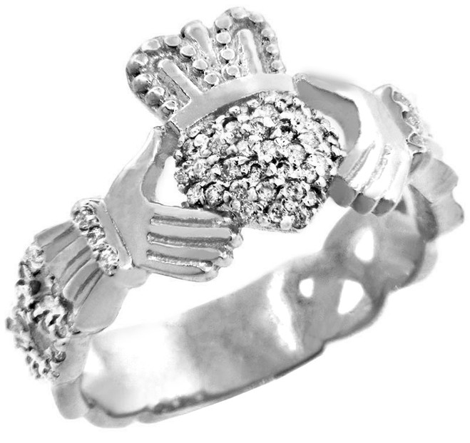 18K White Gold Diamond Pave Claddagh Ring