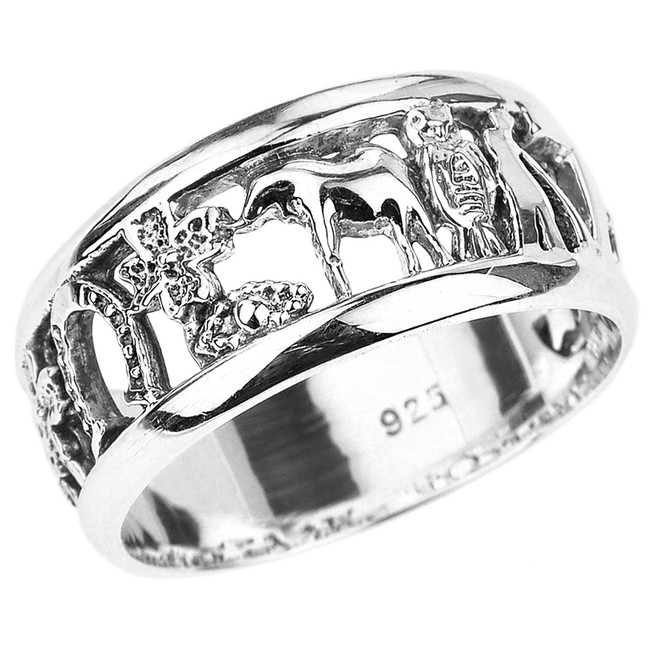 Solid Sterling Silver Unisex Lucky Ring