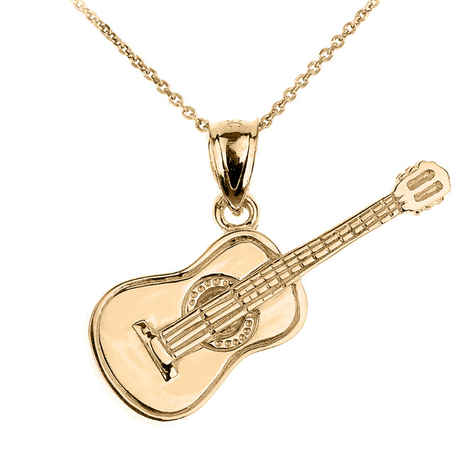Gold Acoustic Guitar Pendant Necklace