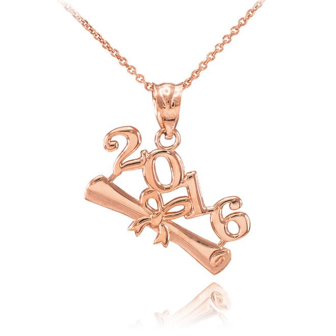 2016 Class Graduation Rose Gold Pendant Necklace