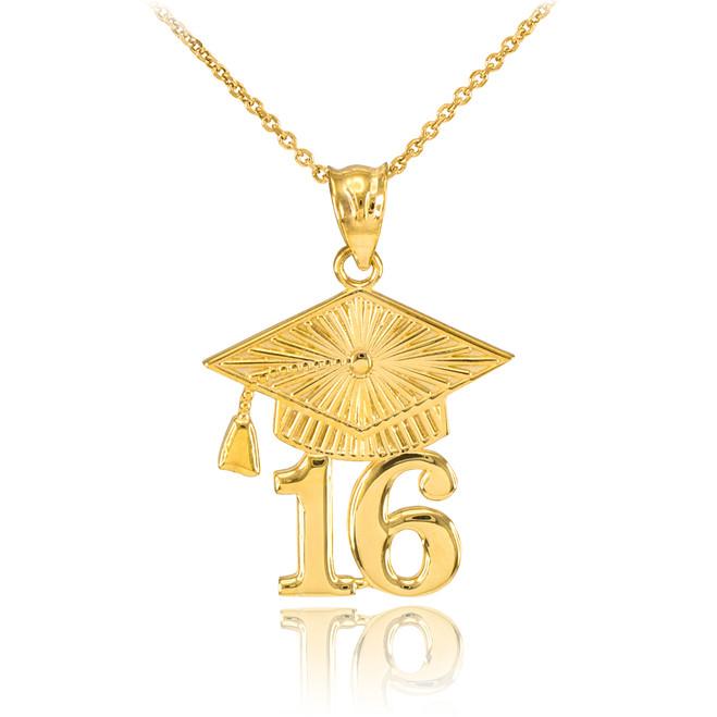 Gold 2016 Class Graduation Pendant Necklace