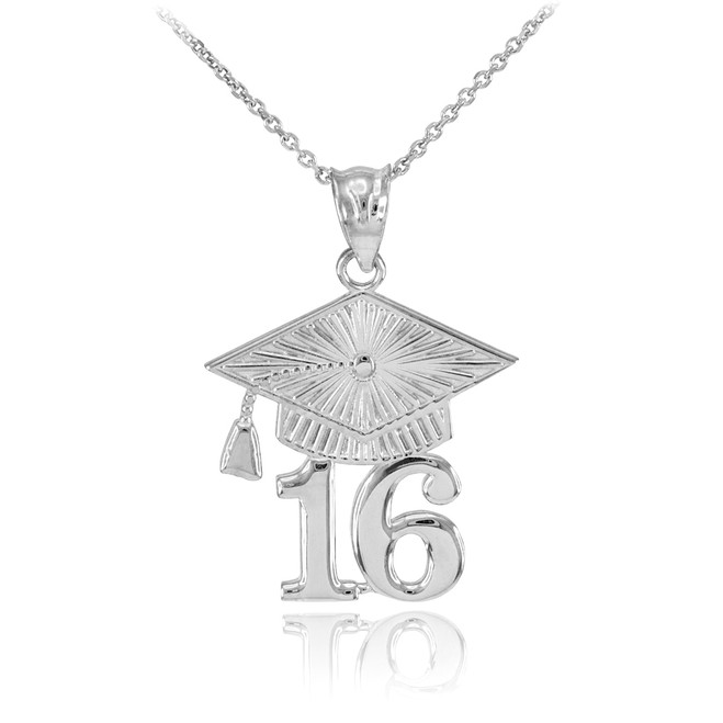 White Gold 2016 Class Graduation Pendant Necklace