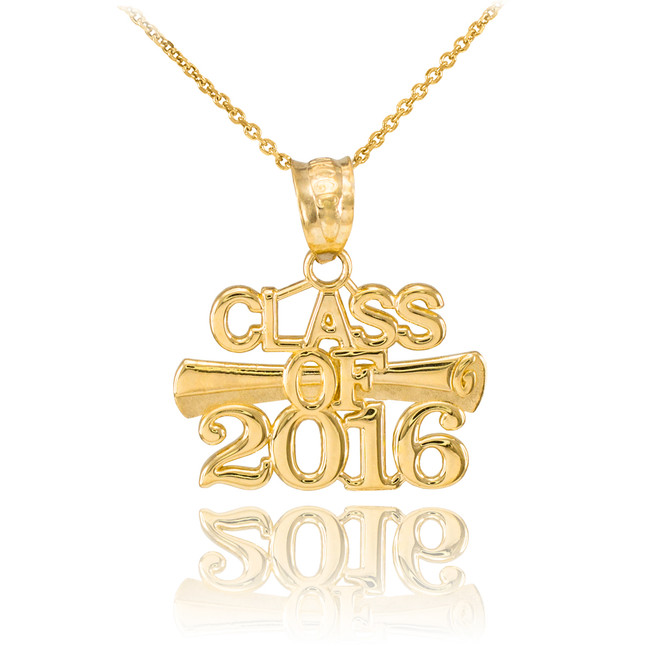 Gold 'CLASS OF 2016' Graduation Charm Pendant Necklace