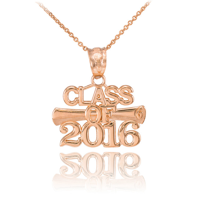 Rose Gold 'CLASS OF 2016' Graduation Charm Pendant Necklace