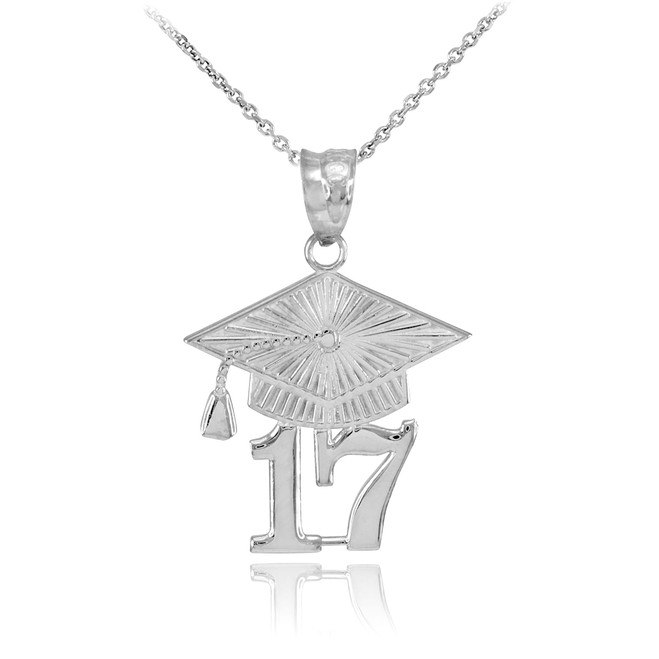 White Gold 2017 Class Graduation Pendant Necklace