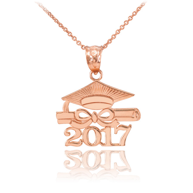 "Rose Gold ""CLASS OF 2017"" Graduation Pendant Necklace"