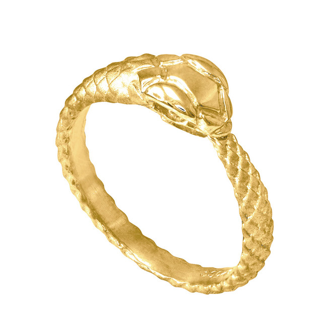 Gold Tail Biting Ouroboros Snake Ring