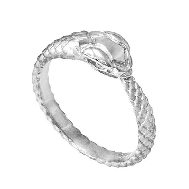 White Gold Tail Biting Ouroboros Snake Ring