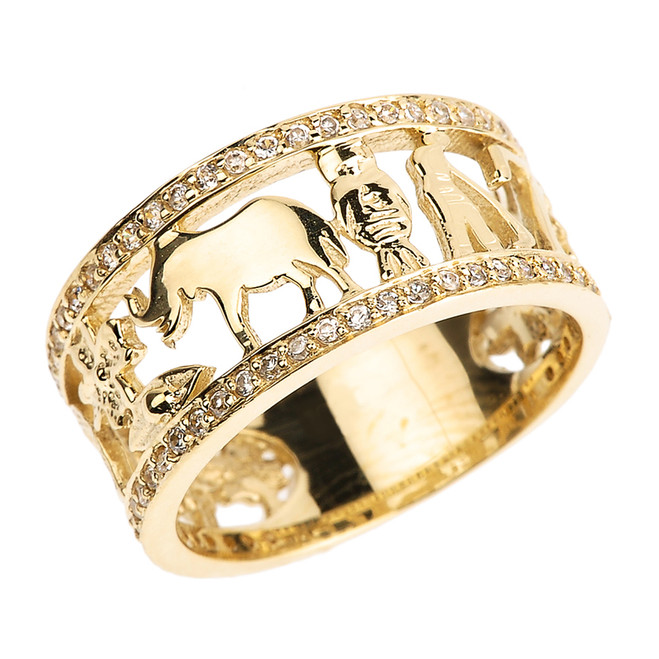 Solid Yellow Gold CZ Studded Unisex Lucky Ring