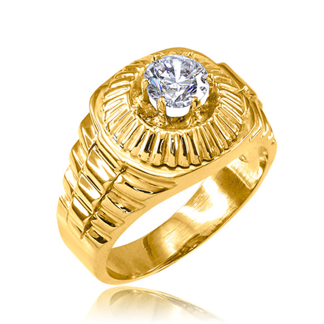 Gold Watchband Design Men's CZ Ring