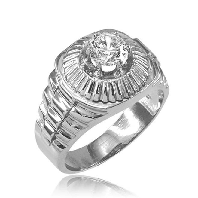White Gold Watchband Design Men's CZ Ring