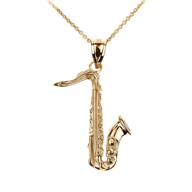 Gold 3D Saxophone Pendant Necklace