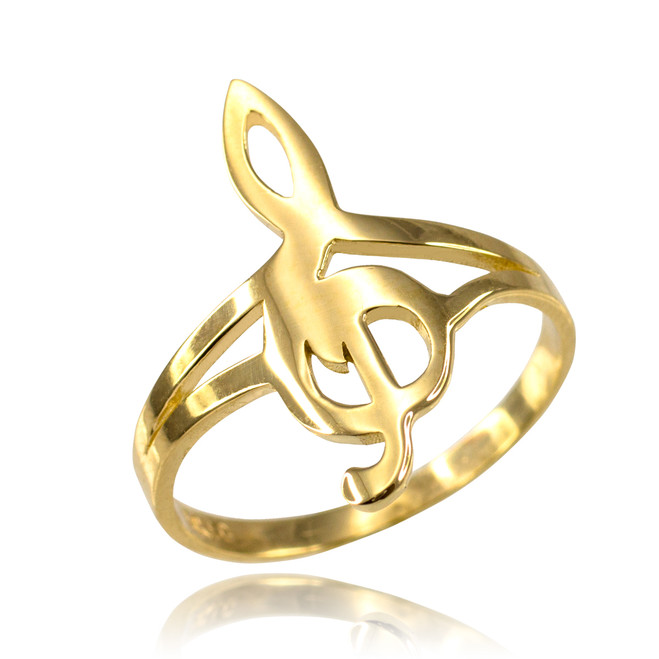 Gold Music Note Dainty Ring