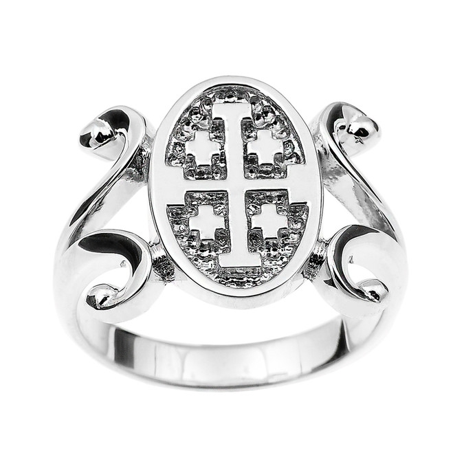 Sterling Silver Jerusalem Cross Ladies Ring