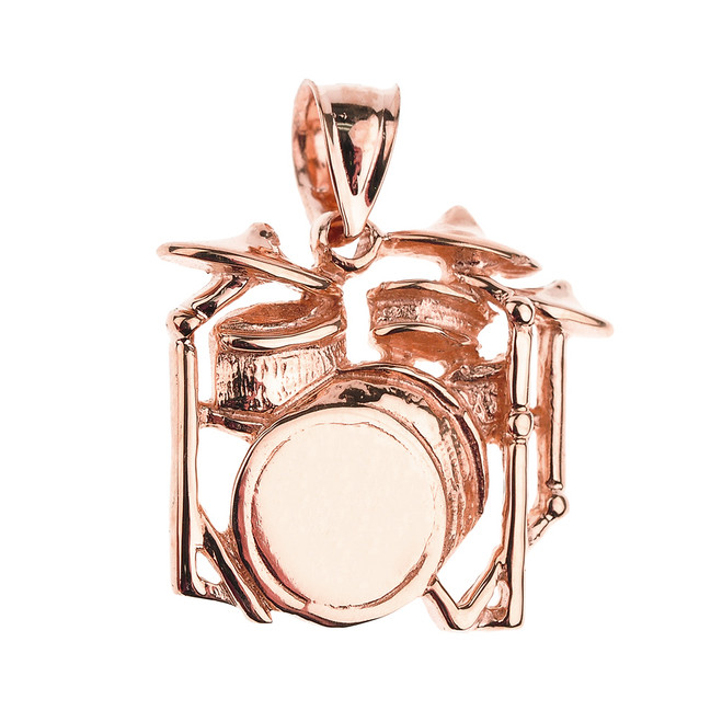 Rose Gold Drum Set Pendant Necklace