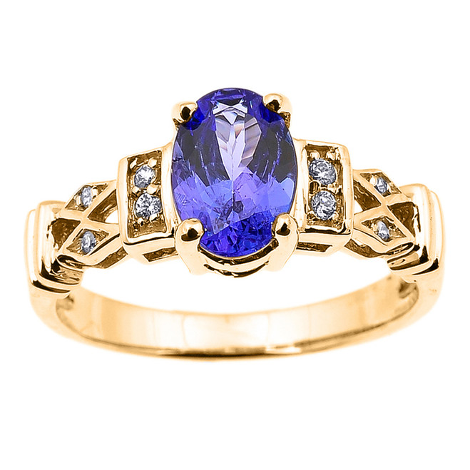 Yellow Gold Tanzanite and Diamond Engagement Proposal Ring