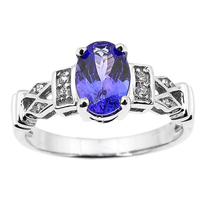 White Gold Tanzanite and Diamond Engagement Proposal Ring