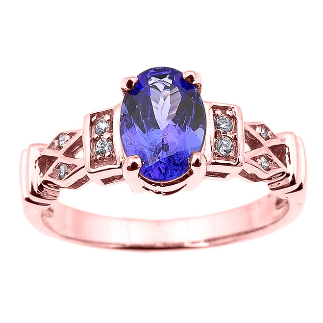 Rose Gold Tanzanite and Diamond Engagement Proposal Ring