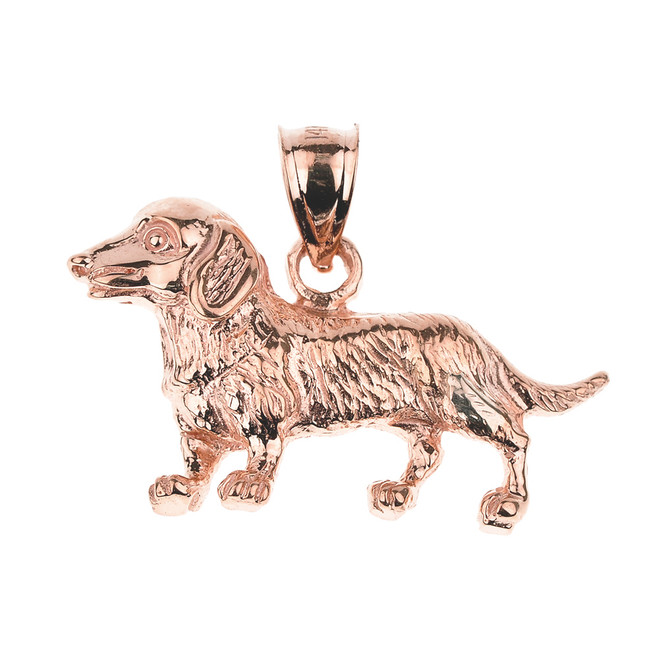 Rose Gold Dachshund Dog Pendant Necklace