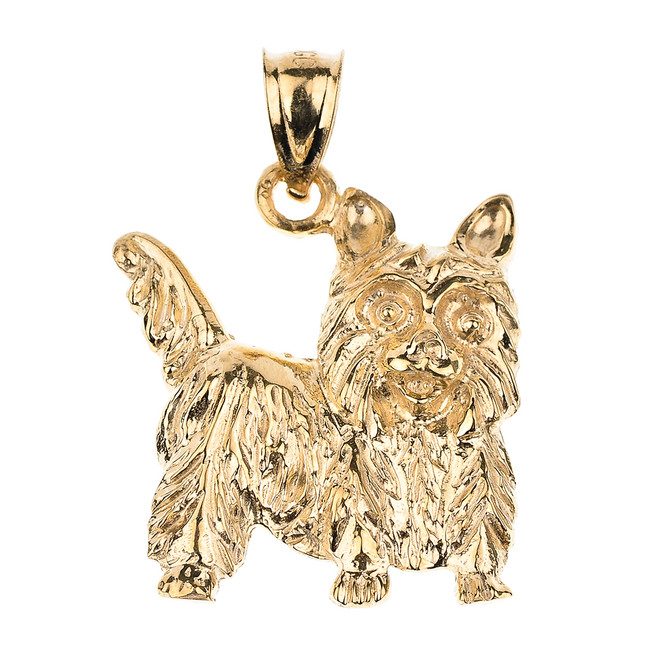 Yellow Gold Yorkie Dog Charm Pendant Necklace