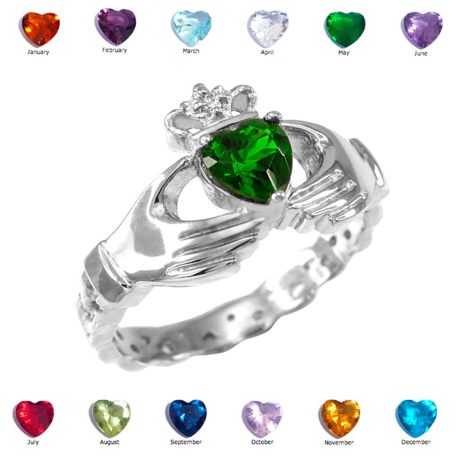 Sterling Silver Claddagh Birthstone CZ Ring
