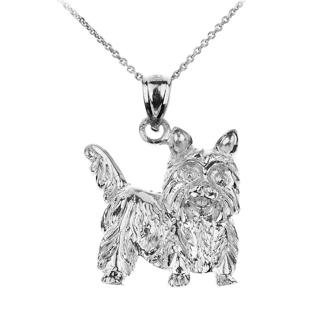 Sterling Silver Yorkie Dog Charm Pendant Necklace