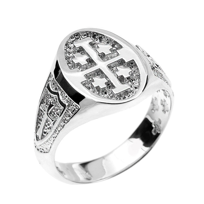 Fine Sterling Silver Jerusalem Cross Unisex Ring