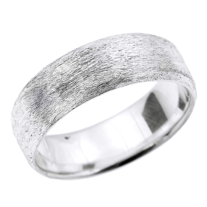 White Gold Satin Finished Unisex Wedding Band 7.2 MM