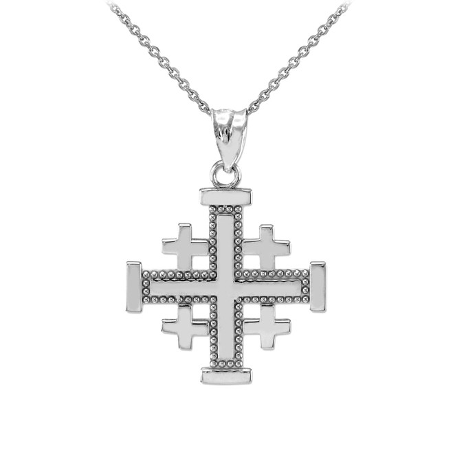 Sterling Silver Jerusalem Cross Pendant Necklace