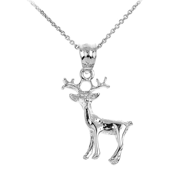 Polished White Gold Deer Pendant Necklace