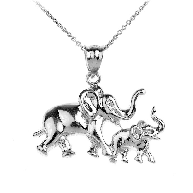 White Gold Mother and Child Elephant Pendant Necklace