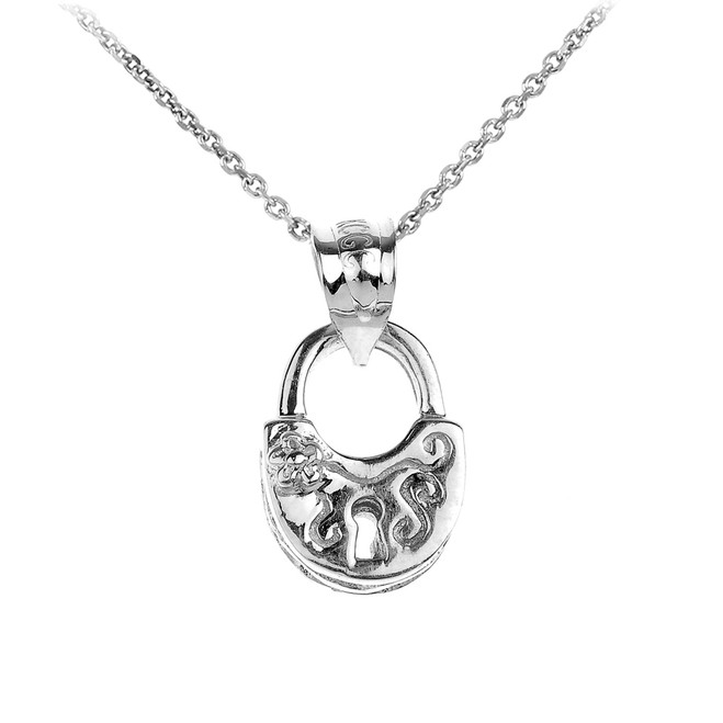 White Gold Heart Lock Charm Pendant Necklace