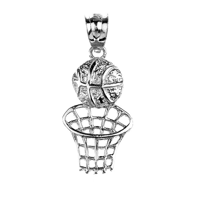 White Gold Basketball Hoop Sports Pendant