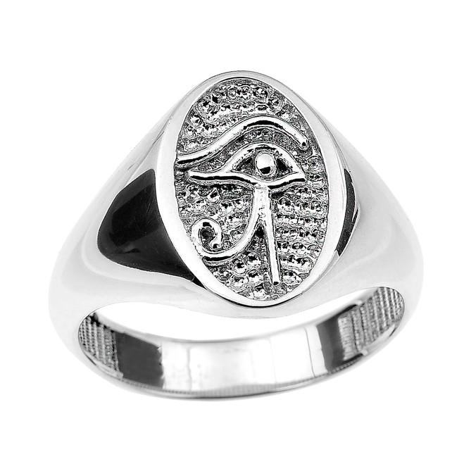 White Gold Eye of Horus Ring