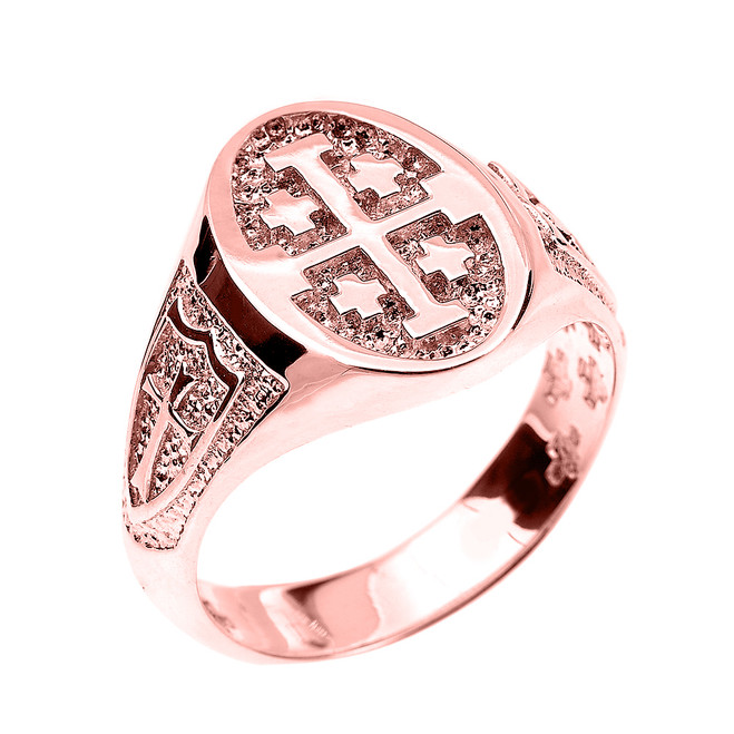 Rose Gold Jerusalem Cross Unisex Ring