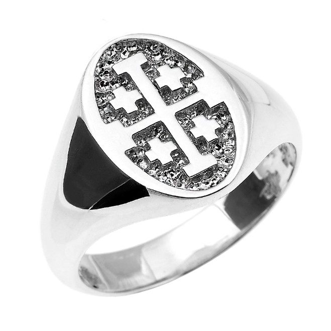 Solid White Gold Jerusalem Cross Unisex Ring