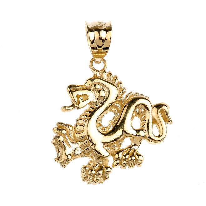 Yellow Gold Dragon Charm Pendant Necklace