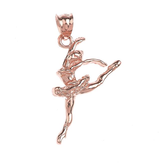 Rose Gold Ballet Dancer Charm Pendant Necklace