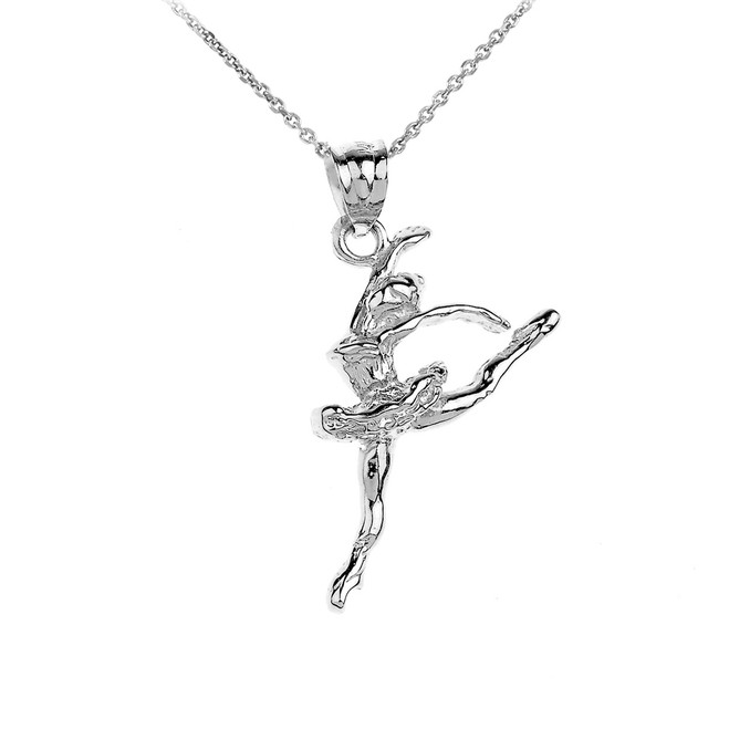 925 Sterling Silver Ballet Dancer Charm Pendant Necklace