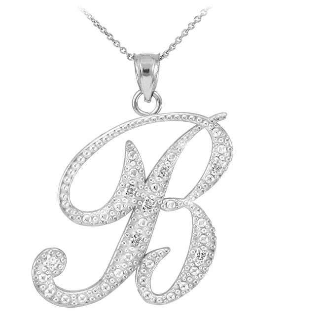 "14k White Gold Letter Script ""B"" Diamond Initial Pendant Necklace"